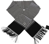 Black and white Dog Print Tassel Silk Mens Wrap Scarf