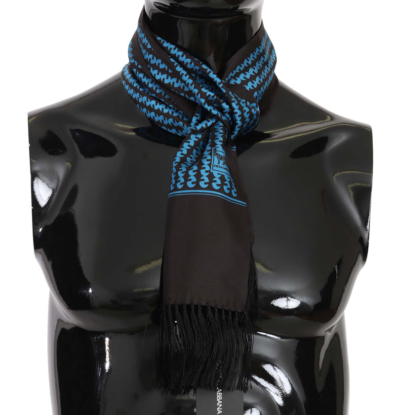 Blue & Black Patterned Silk Mens Scarf