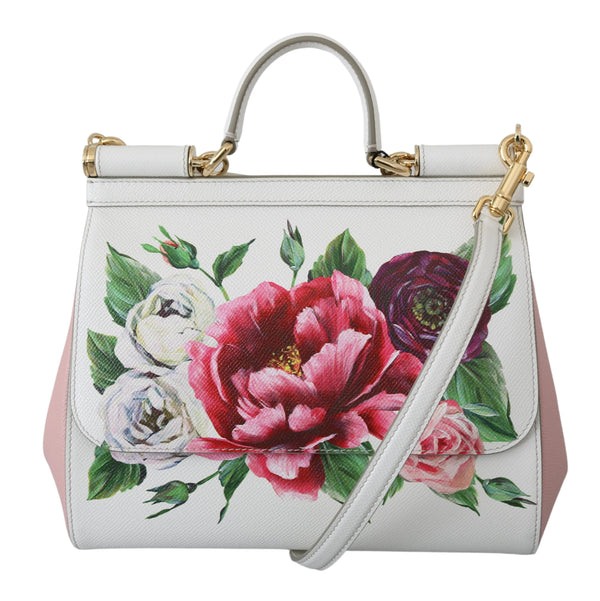 White Floral Cross Body Satchel SICILY Leather Bag