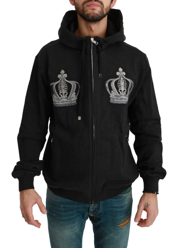 Gray Hooded Royal Crown Cotton Sweater