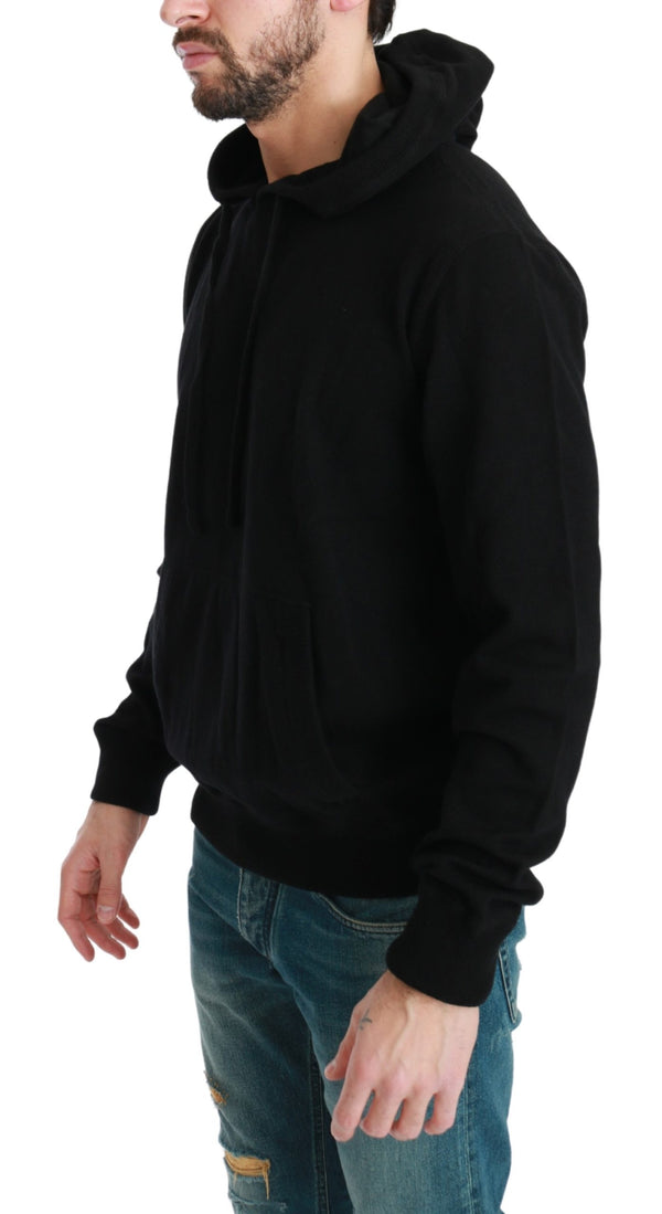 Black Hooded Pullover 100% Cashmere Sweater