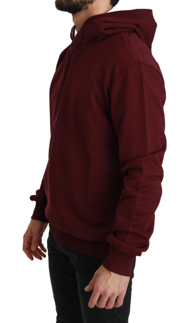 Maroon Hooded Pullover Mens Cotton Sweater
