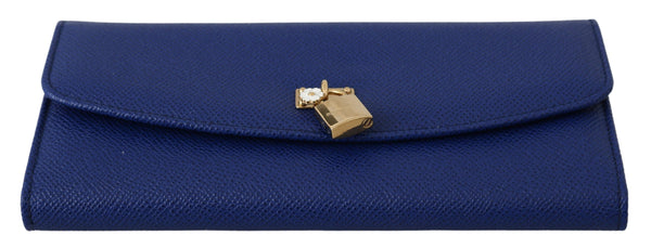 Blue Padlock Bifold Continental Clutch Leather Wallet