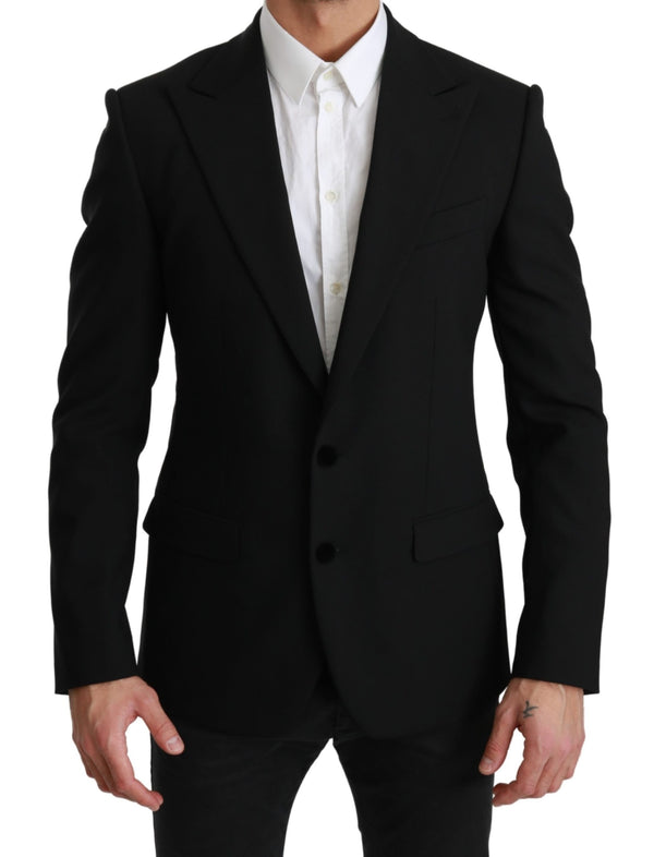 Black Solid Wool Stretch MARTINI Blazer