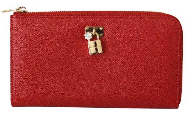 Red Padlock Zipper Continental Clutch Leather  Wallet