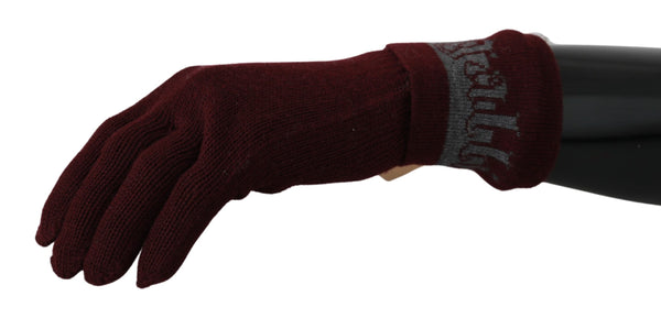 Bordeaux Branded Wool Mens Wrist Length Golves