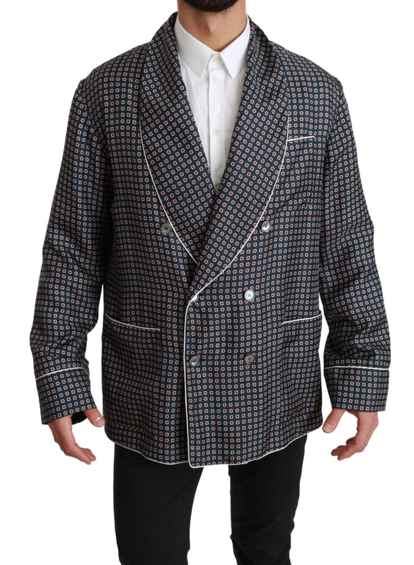 Navy Blue Patterned Double Breasted Coat Jacket