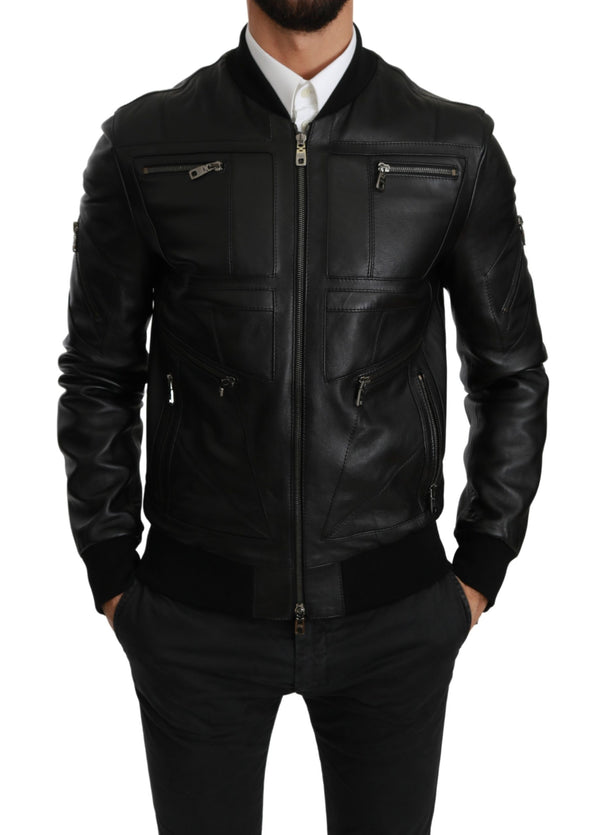 Black Full Zip Biker Coat Leather Jacket