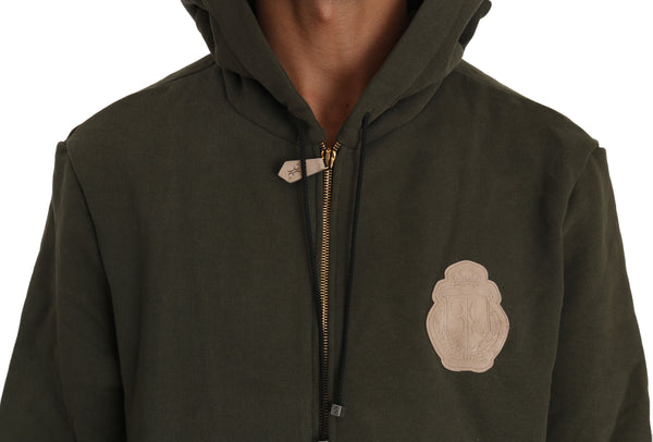 Hooded Full Zip Green Cotton Mens Sweater