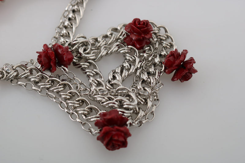 Orange Silver Chain Flower Roses Belt