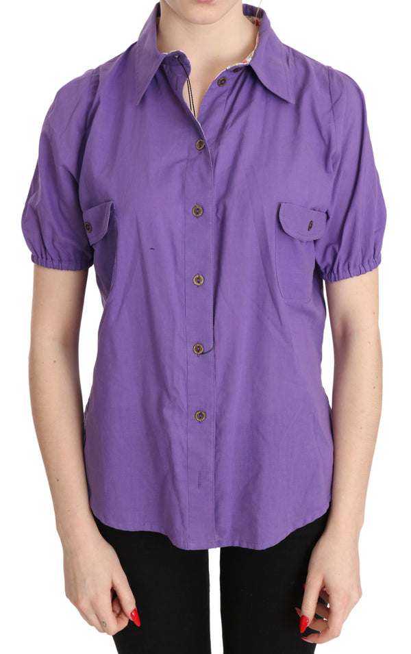 Purple Floral Lining Short Sleeve Polo Top Blouse