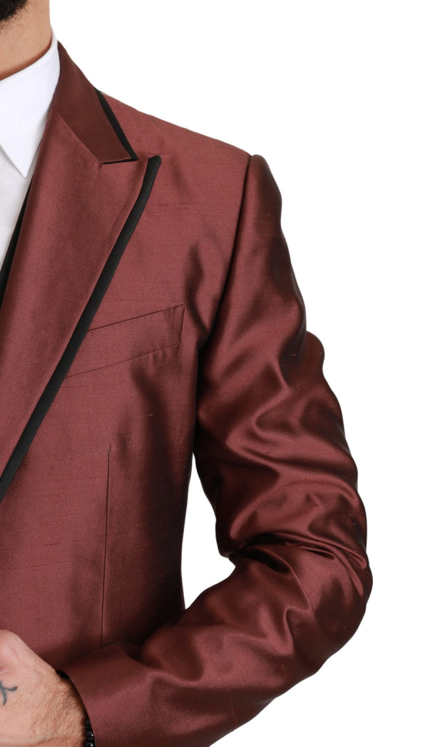 Bordeaux Silk Jacket Vest 2 Piece Blazer
