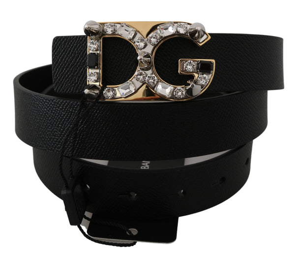 Black Leather DG Crystal Buckle Fashion Belt