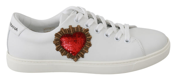 White Leather Red Heart Sneakers Shoes