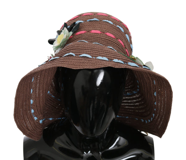 Brown Wide Brim Floral Floppy Women Capello Hat