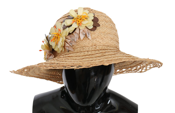 Beige Wide Brim Floral Bucket Capello Hat
