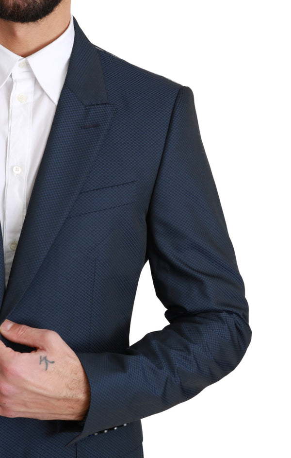 Blue Solid 100% Wool 2 Piece MARTINI Suit