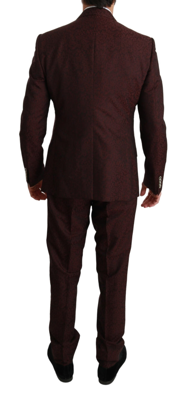 Maroon Brocade 3 Piece Wool MARTINI Suit