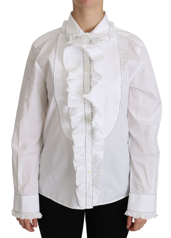 White Ruffle Collared Blouse Cotton  Top