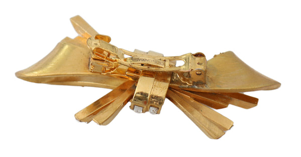 Gold Brass Crystal Bow Catwalk Barrette Hair Clasp Pin