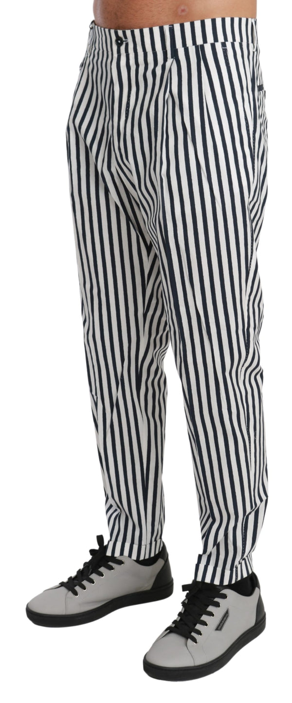 White Blue Striped Casual Trouser Cotton Pants