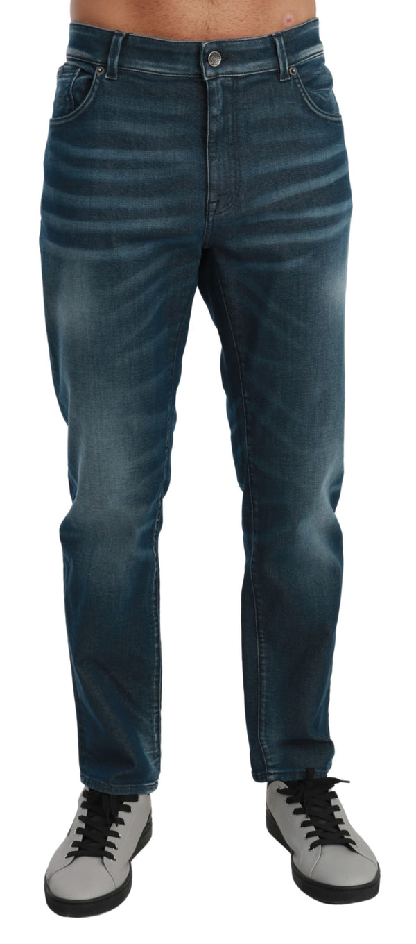 Blue Washed Skinny Denim Trouser Cotton Jeans