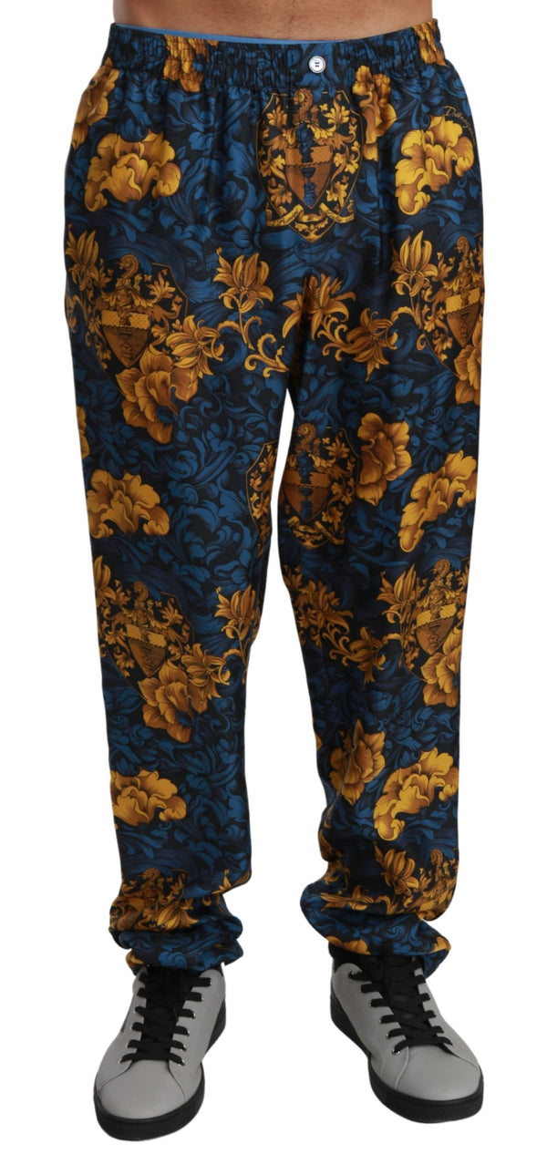 Blue Yellow Baroque Trousers Silk Pants