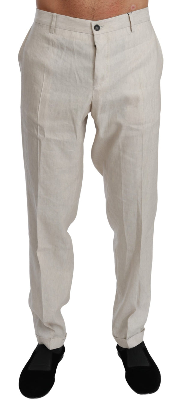 White Linen Casual Mens Trouser Flax Pants