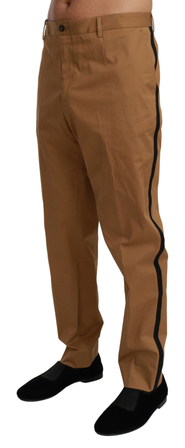 Brown Chinos Trousers Cotton Stretch Pants