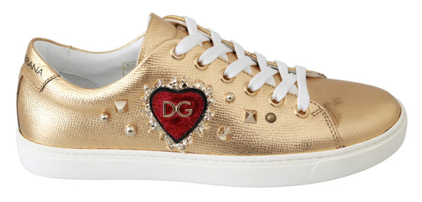 Sneakers GOLD Leather Gold Red Heart Shoes