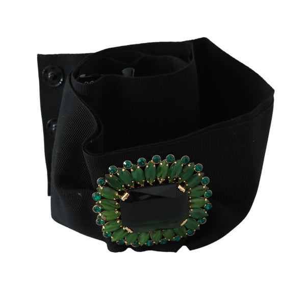Black Stretch Green Crystal Wide Waist Belt