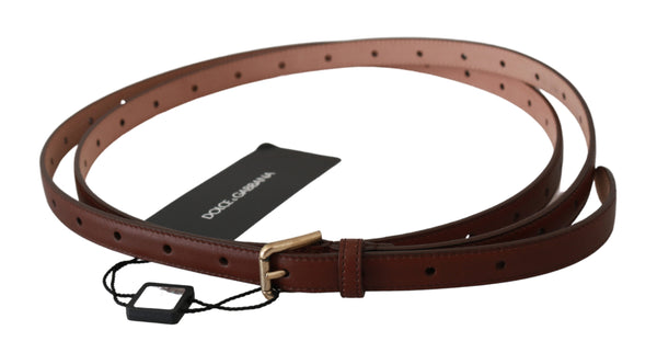 Brown Slim Double Wrap Buckle One Leather Belt