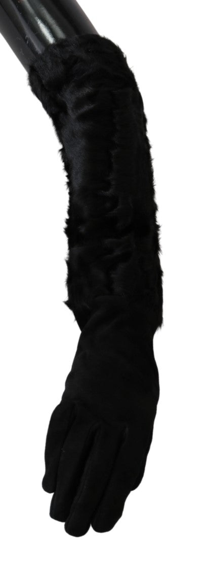 Black Elbow Length Mitten Suede Fur Gloves