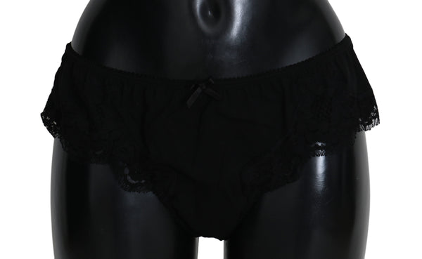 Black Silk Floral Bottoms Underwear