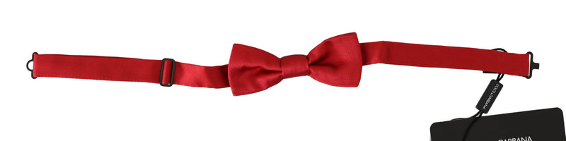 Men Red 100% Silk Adjustable Neck Papillon Bow Tie
