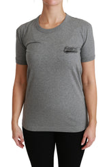Gray Crewneck Amore Patch Cotton Top T-shirt