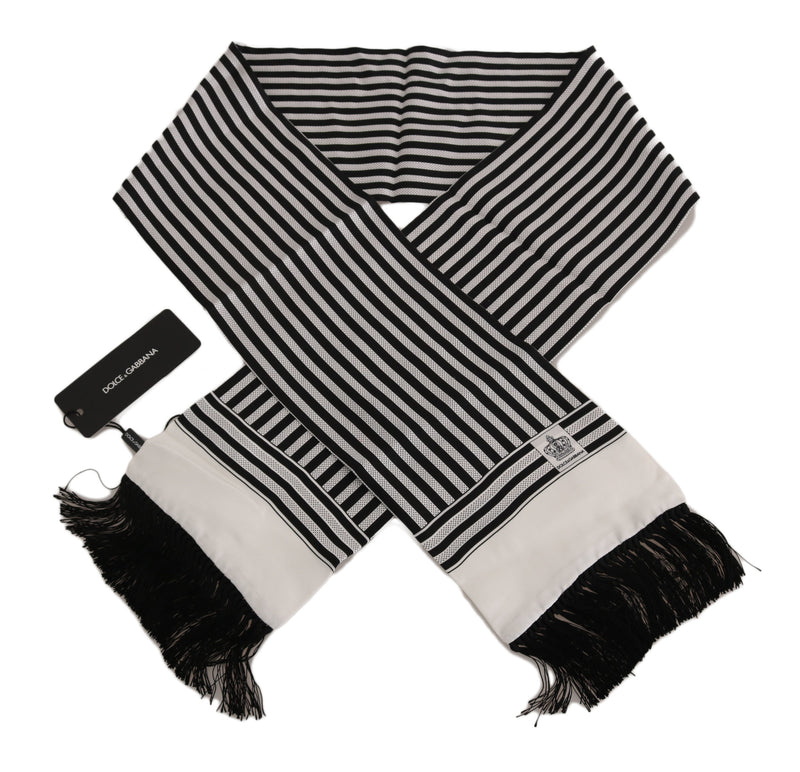Black White Striped Fringes Mens Wrap 140cm x15cm Scarf