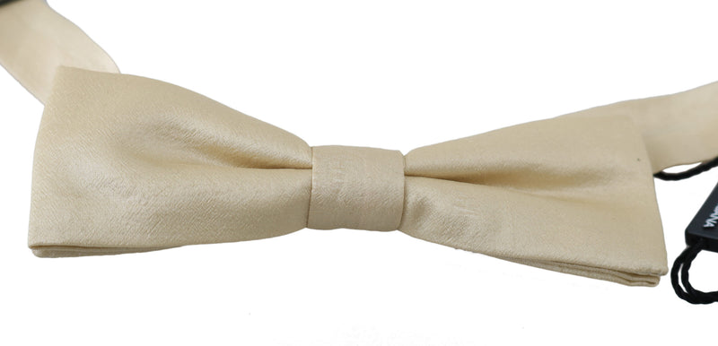 Beige Cream 100% Silk Adjustable Neck Papillon Bow Tie