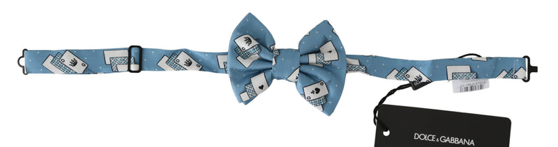 Light Blue Deck Of Cards Adjustable Neck Papillon Bow Tie