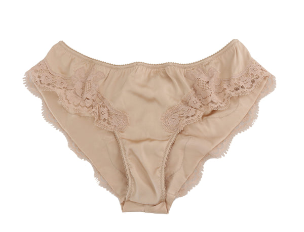 Beige Silk Floral Lace Stretch Underwear