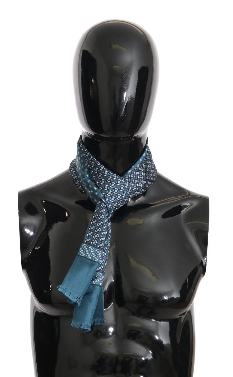 Blue Baroque Pattern Silk Mens Wrap 150cm x 25cm Scarf