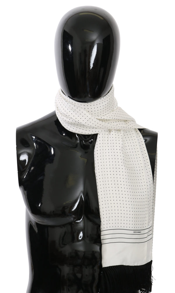 White Dotted Fringe Wrap Shawl Silk Scarf