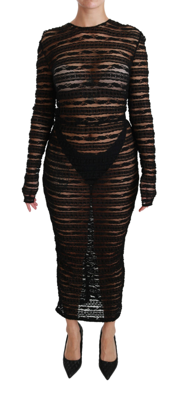 Black Long Sleeve Lace Midi Bodycon Dress