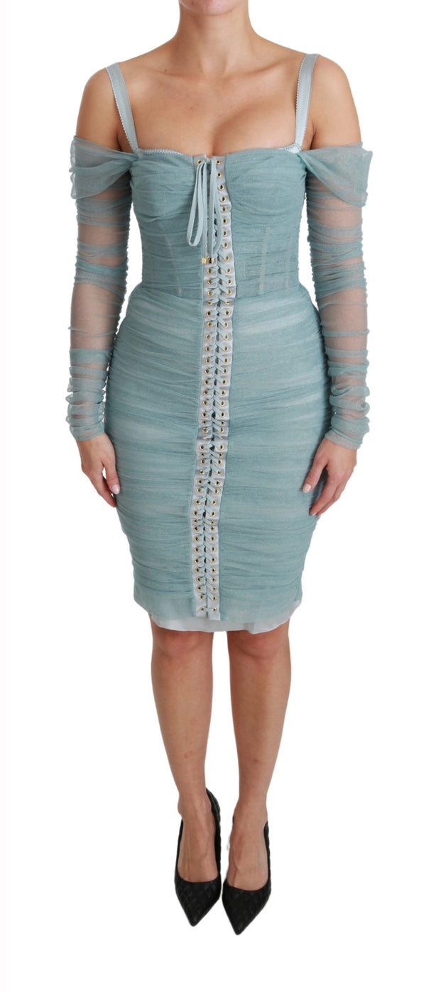 Blue Bodycon Long Sleeve Stretch Dress