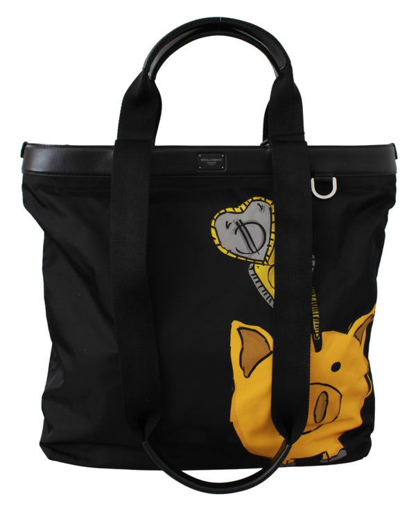 Black Year Of The Pig Shopping Tote Nylon Bag