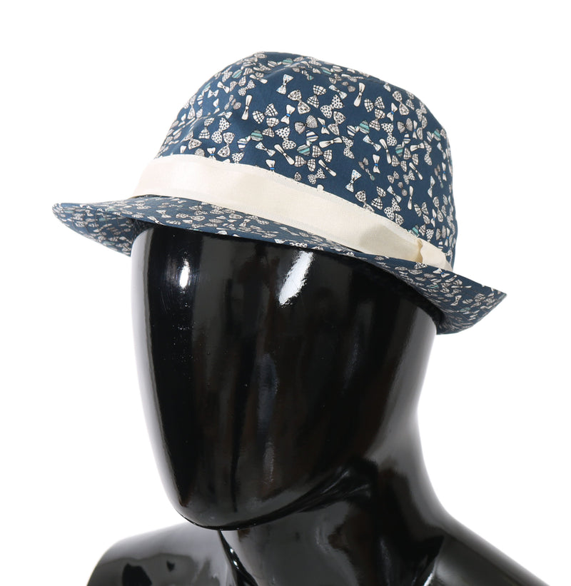 Blue Bow Print Cotton Trilby Men Capello Hat