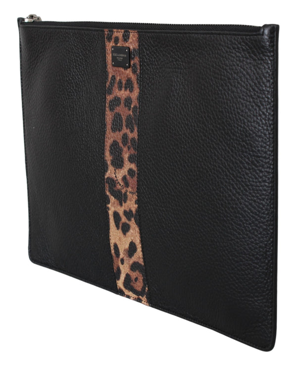 Black Leopard Mens Hand Toiletry Clutch Leather Bag