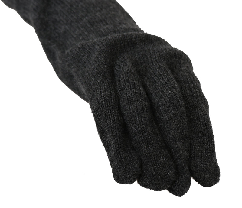 Black 100% Cashmere Knitted Elbow Length Gloves