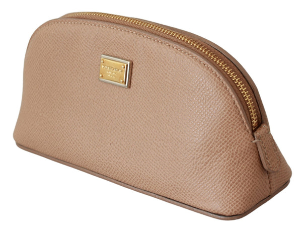 Beige Toiletry Women Leather Hand Purse Pouch