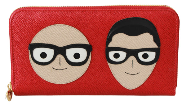 Leather Red #dgfamily Patch Continental Wallet